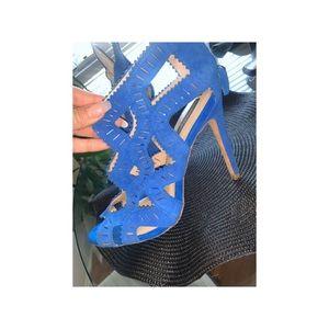 Blue Zara Suede Heels Size 38